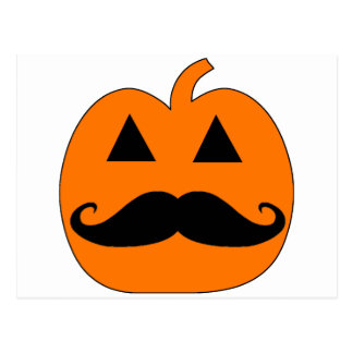 Jack o Lantern mustache Postcard