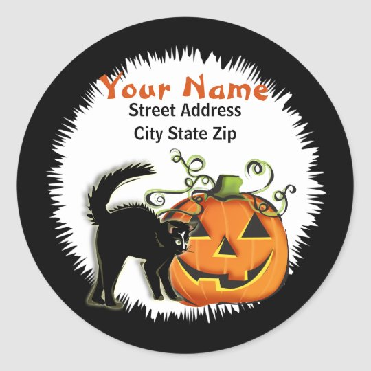 Jack-O-Lantern N Cat Address Label