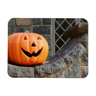 Jack-o-lantern on a stone wall magnet