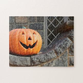Jack-o-lantern on a stone wall puzzle