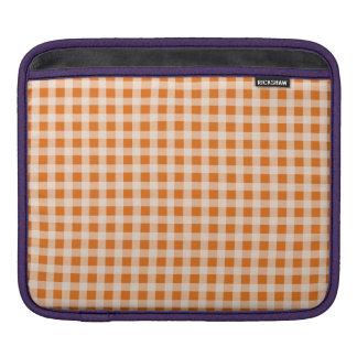 Jack o Lantern Orange and White Gingham Check iPad Sleeves