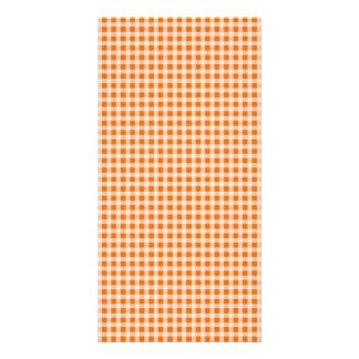 Jack o Lantern Orange and White Gingham Check Photo Card