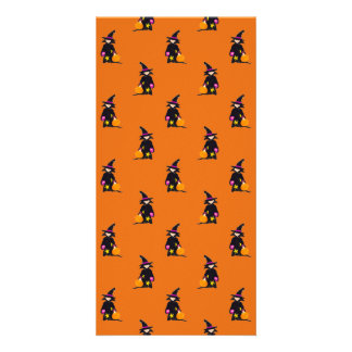 Jack o Lantern Orange Halloween Toddler Witch Photo Card