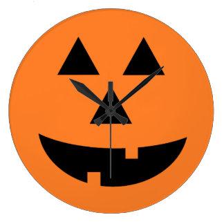 Jack-O-Lantern Orange Pumpkin Halloween Wall Clock