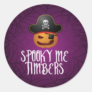 Jack O' Lantern Pirate Halloween Round Sticker