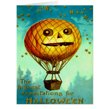 Halloween Themed Jack O Lantern Pumpkin Air Balloon Stars Card