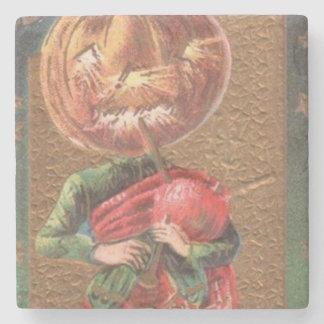 Jack O Lantern Pumpkin Bagpipe Stone Coaster
