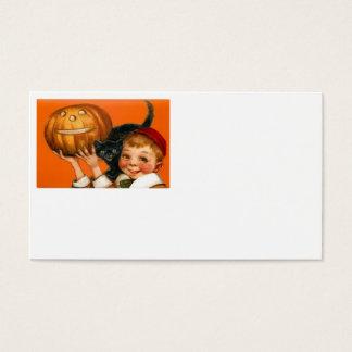Jack O Lantern Pumpkin Black Cat Boy Business Card