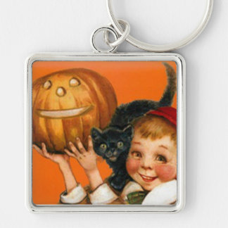 Jack O Lantern Pumpkin Black Cat Boy Silver-Colored Square Keychain