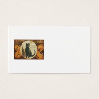Jack O' Lantern Pumpkin Black Cat Broom Business Card