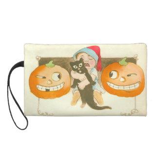 Jack O Lantern Pumpkin Black Cat Cute Baby Wristlet Purse
