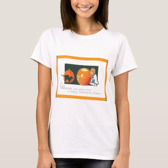 Jack O Lantern Pumpkin Black Cat Cute Little Boy T-Shirt