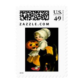 Jack O Lantern Pumpkin Black Cat Girl Postage