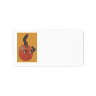 Jack O Lantern Pumpkin Black Cat Label
