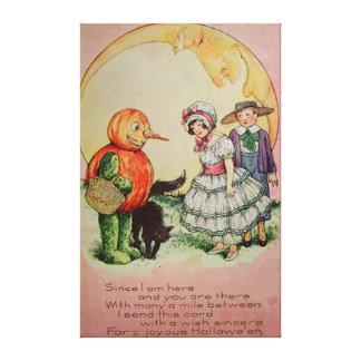 Jack O Lantern Pumpkin Black Cat Moon Canvas Print