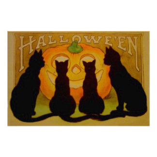 Jack O Lantern Pumpkin Black Cat Poster