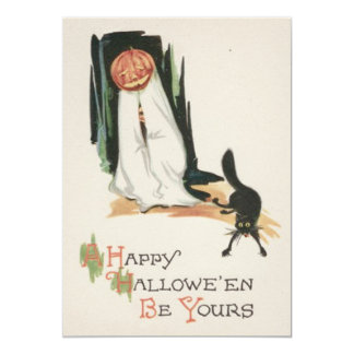 Jack O' Lantern Pumpkin Black Cat Prank 5x7 Paper Invitation Card