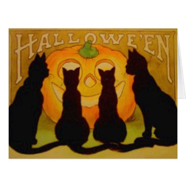Halloween Themed Jack O Lantern Pumpkin Black Cat Silhouette Card