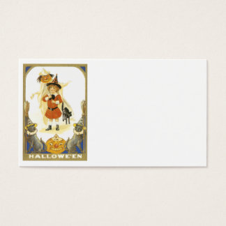 Jack O Lantern Pumpkin Black Cat Witch Child Business Card