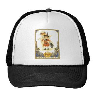 Jack O Lantern Pumpkin Black Cat Witch Child Trucker Hat