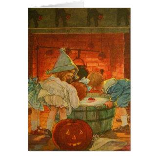 Jack O Lantern Pumpkin Bobbing Apple Black Cat Card