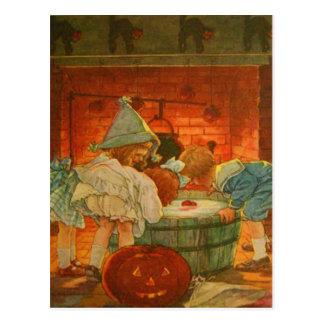 Jack O Lantern Pumpkin Bobbing Apple Black Cat Postcard