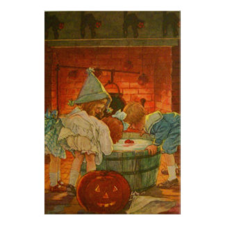 Jack O Lantern Pumpkin Bobbing Apple Black Cat Poster