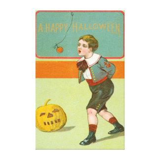Jack O Lantern Pumpkin Bobbing Apple Canvas Print