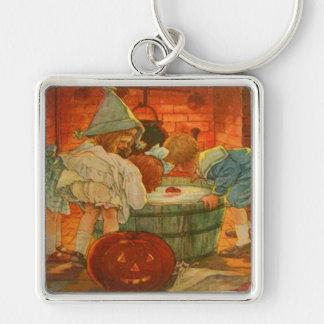 Jack O Lantern Pumpkin Bobbing Apple Silver-Colored Square Keychain