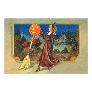 Jack O Lantern Pumpkin Broom Dance Woman Photo Print