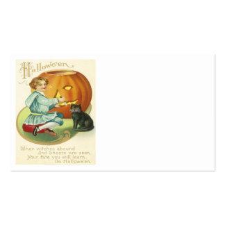 Jack O Lantern Pumpkin Carving Black Cat Business Card
