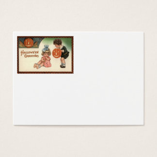 Jack O' Lantern Pumpkin Children Playing Business Card