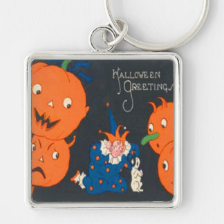 Jack O Lantern Pumpkin Dog Clown Silver-Colored Square Keychain