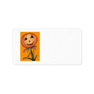 Jack O Lantern Pumpkin Flower Label