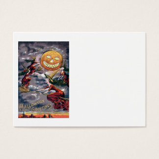 Jack O' Lantern Pumpkin Flying Witch Broom Business Card
