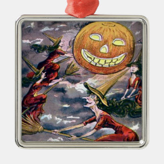 Jack O' Lantern Pumpkin Flying Witch Broom Metal Ornament