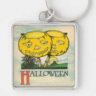Jack O Lantern Pumpkin Full Moon Silver-Colored Square Keychain