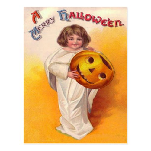 Jack O Lantern Pumpkin Ghost Child Postcard