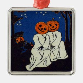 Jack O' Lantern Pumpkin Ghost Costume Metal Ornament