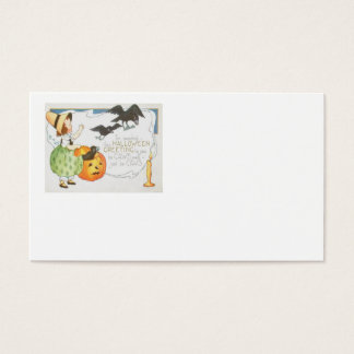 Jack O Lantern Pumpkin Ghost Crow Girl Business Card