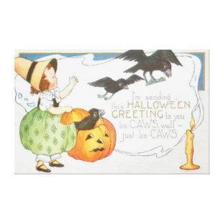 Jack O Lantern Pumpkin Ghost Crow Girl Canvas Print