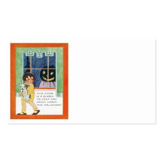 Jack O Lantern Pumpkin Ghost Girl Puppy Business Card