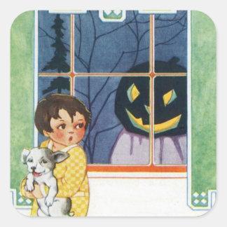 Jack O Lantern Pumpkin Ghost Girl Puppy Square Sticker