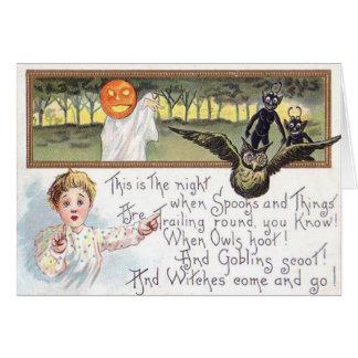 Jack O' Lantern Pumpkin Ghost Owl Goblin Card