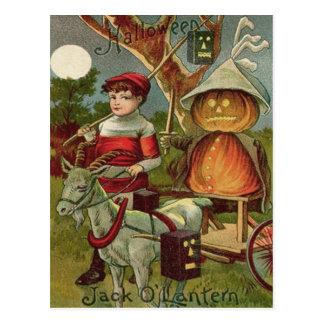 Jack O' Lantern Pumpkin Goat Full Moon Postcard