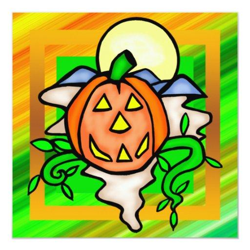 "Jack O Lantern Pumpkin Halloween Party Invitation 5.25"" Square Invitation Card"