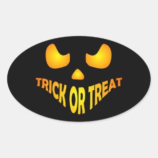 Jack O Lantern Pumpkin Halloween Trick or treat Oval Sticker