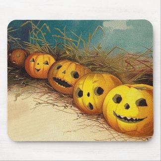 Jack O' Lantern Pumpkin Hay Field Mouse Pad