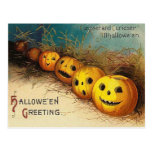 Jack O' Lantern Pumpkin Hay Field Postcard