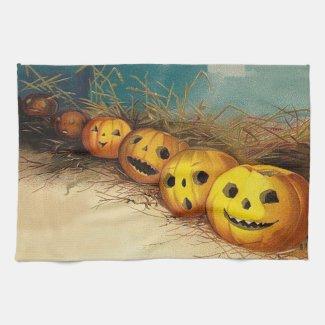 Jack O' Lantern Pumpkin Hay Field Towels